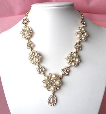 Betsey Johnson shiny crystal/Pearls Mosaic Snowflake bib Fashion Necklace#830L
