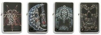 Lot of 4 Refillable Flip top Oil Lighter Skulls Motorcycle Style Moon Snake