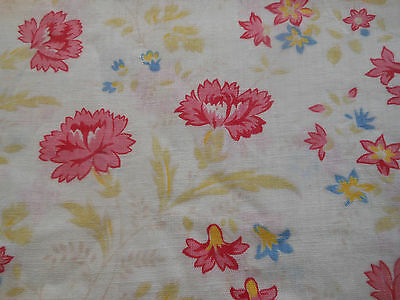 Antique French Floral Carnation Cotton Fabric ~ Pink Citrus Green Blue Yellow