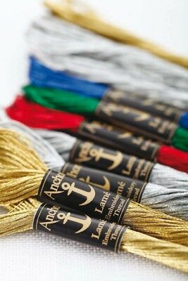 ONE 8m SKEIN OF ANCHOR LAMÉ / LAME METALLIC EMBROIDERY THREAD (Choose From Six)