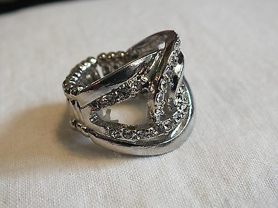Silver Tone Cocktail Ring Stretch Chunky  Sparkling Clear Rhinestones WOW