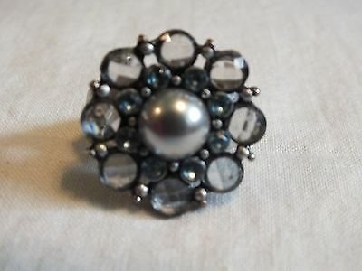 Silver Tone Cocktail Ring Stretch Chunky Smoky Blue Rhinestones Gray Cabochon
