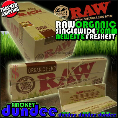 RAW Organic Single Wide 70mm Natural Hemp Rolling Papers - Choose Quantity