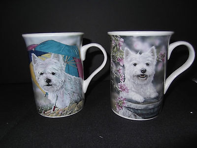 *Danbury Mint  * WESTIES * PAIR of Mugs * RARE OUT OF PRODUCTION * NEW & UNUSED*