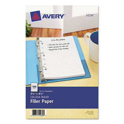 NOTEBOOK BINDER FILLER PAPER 7-HOLE PUNCH COLLEGE RULED 100 SHEETS 5-1/2 x 8-1/2