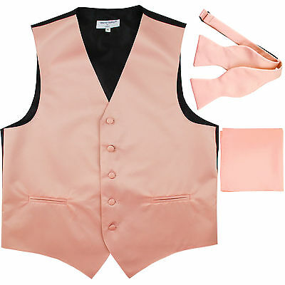 New Men's Mauve Dusty Pink vest Tuxedo Waistcoat self tie bow tie, hankie set
