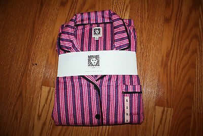NWT Womens ANNE KLEIN Pink Purple Striped Pattern Pajamas PJs LS Size S 6-8