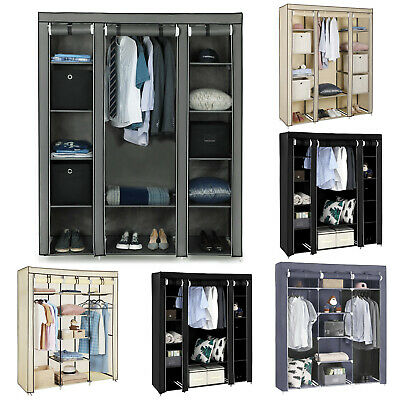 stoffkleiderschrank stoffschrank kleiderschrank mit 3 regalen violett schrank eur 21 95. Black Bedroom Furniture Sets. Home Design Ideas