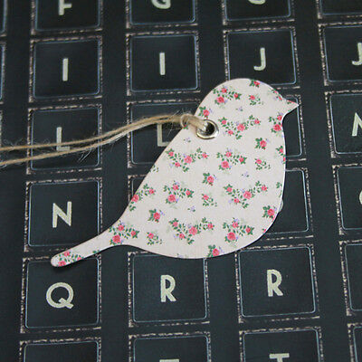 Vintage Rose Bird Tag x 15 (3 designs) Gift Tags / Wedding / Craft / Place Cards