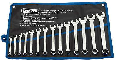 Draper Quality Metric Combination Spanner Set Polished 14 Piece HI-TORQ 8 - 24mm