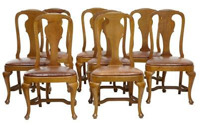 19Th Century Set Of 8 Queen Anne Influenced Oak Dining Chairs