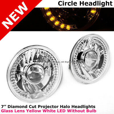 Universal 7 In Front Bumper Diamond Cut Projector Headlight 34 LED White Yellow
