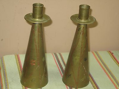 "Pair @ 2 Vintage Bells of Sarna India Candle Holder Bell 9"" Engraved Enamel"