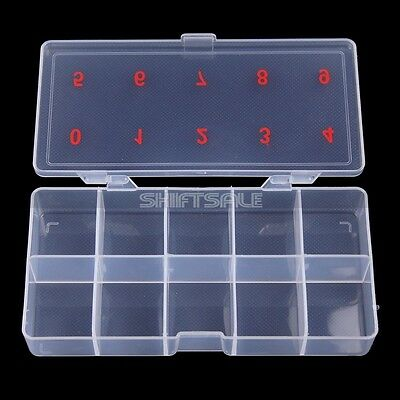 10 Divided Numbered Spaces Empty Storage Nail Art Tips Jewellery Pills Box Case