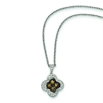 "White Night® .925 Sterling Silver 0.50ct Diamond Flower Pendant 18"" Necklace"