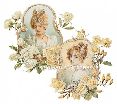 ~Vintage Image Victorian Women In Framed Roses Waterslide Decals U PICK~ WOM946