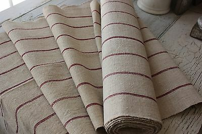 Vintage grainsack fabric material  Linen homespun European fabric 9.25 yards RED