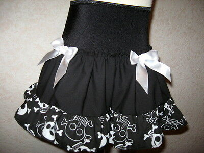 NEW Baby Girls Black White Pink Blue Funky Skulls Skirt Alternative Gift Party