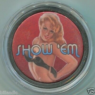 SHOW'EM girl poker chip Card Guard Cover Protector