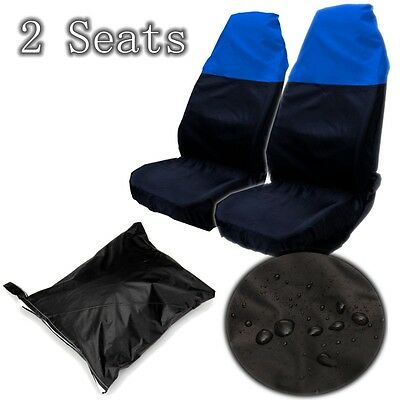 2 Universal Waterproof Blue/black Front Seat Covers/protectors For Car/van Seats