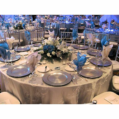 Set Of 96 Silver Radiance Decorative Charger Dinner Dining Under Plates Wedding