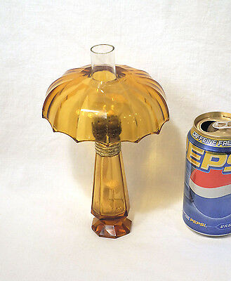 Vtg Antique Miniature Amber Glass Oil Lamp + Shade Rare Old! Good Quality Glass!