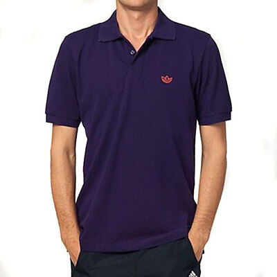 Adi Mens Shirt Polo Purple Pique Retro Originals Trefoil Adidas 1wnHaT