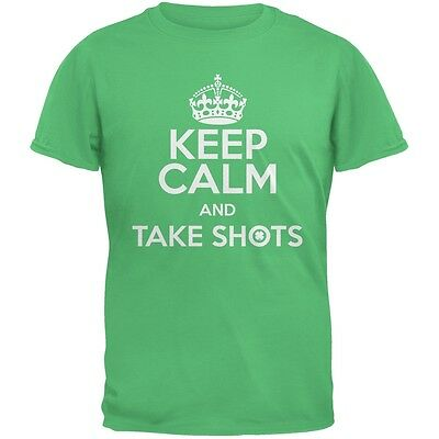 St. Patricks Day - Keep Calm Take Shots Irish Green Adult T-Shirt