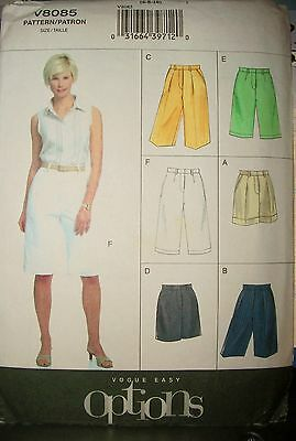 Miss MP Vogue 8085 Sewing Pattern Easy Options Shorts 3 Lengths Size 6-8-10 OOP