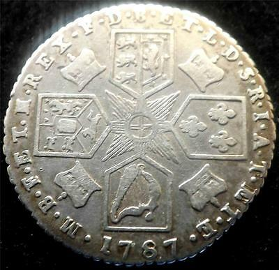 1787 GEORGE III SILVER SIXPENCE 6d COIN - MILLED