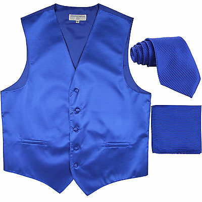 New Men's Horizontal Stripes Tuxedo Vest Waistcoat_tie & hankie Set royal blue