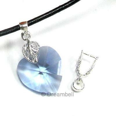 1 X Sterling Silver Leaf Bail Pinch In Pendant Clasp Connector Slide SB340w