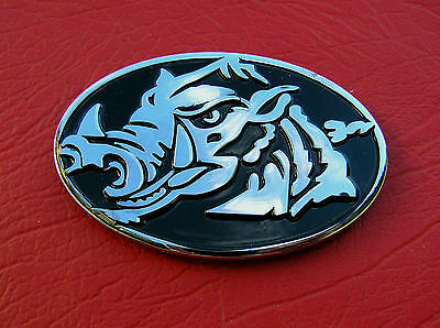 UK ~ RAZORBACK MOTORCYCLE BADGE Wild Boar Chrome Metal Emblem *NEW & UNIQUE* L