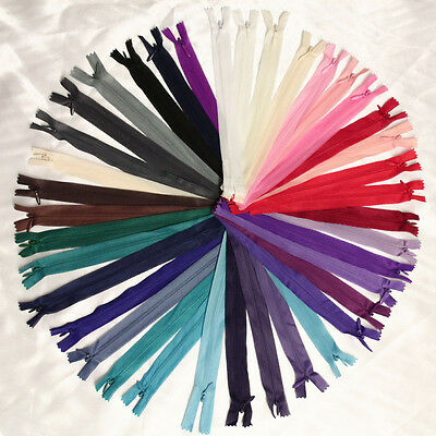 """12""""-20"""" CONCEALED INVISIBLE NYLON ZIPS No.3 *38 COLOURS * SEWING FASTENER CLOSED"""