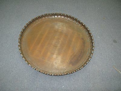 "Huge Antique Islamic Middle Eastern Copper Table Tray Hand Made 26"" Fluted Rim"