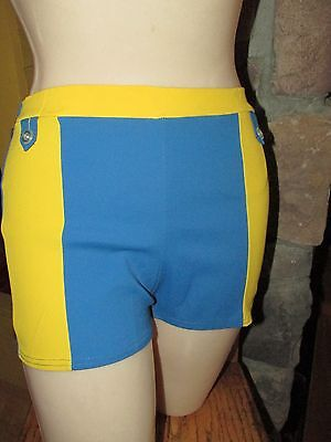 Vintage 1960 Mens Bathing Suit Unworn Swimwear  Blue & Yellow Acetate Cotton M