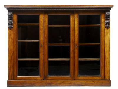 19Th Century Early Victorian Walnut 3 Door Bookcase