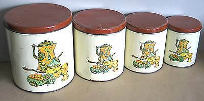 Set of 4 Vintage 1940s Decoware Tin Kitchen Canisters Coffee Pot Kettle Design