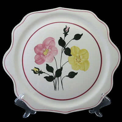 Southern Potteries Cake Plate Pink And Yellow Roses Pink Rings