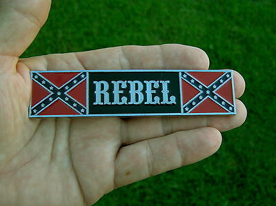 REBEL PLAQUE BIKE EMBLEM Chrome Metal Badge *NEW* Harley Davidson USA