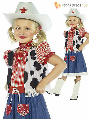 Girls Cowgirl Wild West Costume Jessie Cowboy Fancy Dress Childs Kids Book Day