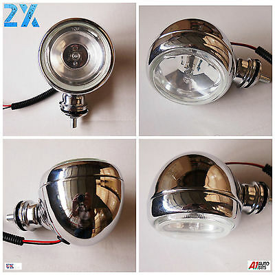 Pair 2x Universal Chrome Car Van Bus Front Fog Halogen Round Lamp 12V 55W 3.55""
