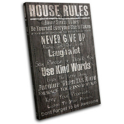 Typography House Rules Bathroom SINGLE CANVAS WALL ART Picture Print VA