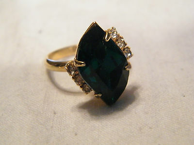 Beautiful Gold Tone Cocktail Ring Clear Emerald Rhinestones Adjustable WOW