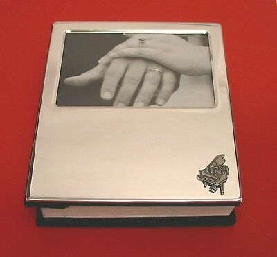Grand Piano Motif Plated Photo Album Holds 100 4 x 6 Photos Musician Gift