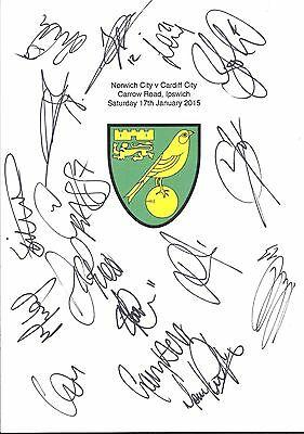 An A4 white card with the Norwich City Badge. Signed by 16 players on 17.01.15.