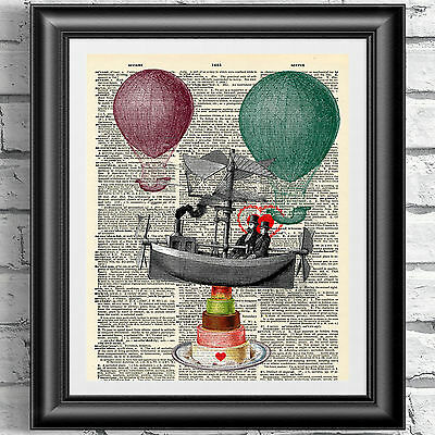 Art print on antique dictionary book page bon voyage French wedding. Wall decor.