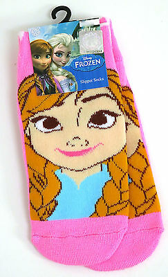 Young Girls Disney Frozen Anna Pink Slipper Socks Uk Size 6-8.5 /  2-3 Years