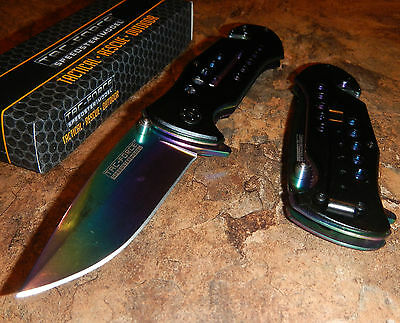 TAC-FORCE Rainbow Spectrum Tactical Assisted Opening Glass Breaker Rescue Knife!
