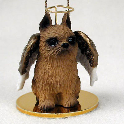 Brussels Griffon Dog Figurine Angel Statue Hand Painted Red